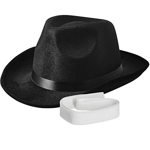 NJ Novelty - Fedora Gangster Hat, Black Pinched Hat Costume Accessory + White Band (Black - 1 Pack) -