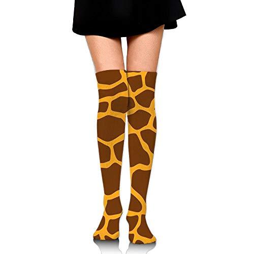 Knee High Tube Socks For Girls, Women's Cute Giraffe Stripe Prints Over Thigh High Long Stockings