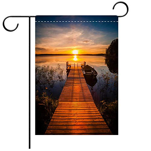 BEICICI Garden Flag Double Sided Decorative Flags Sunset Over The Fishing pier at The Lake in Finland Decorative Deck, Porch, Patio, Balcony Backyard, Garden or Lawn