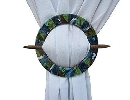 H & W Decorative Handmade Medium Density fibreboard Emerald Curtain Tieback Holder Round Blue Color- Set of 2 (18 x 18 cms)