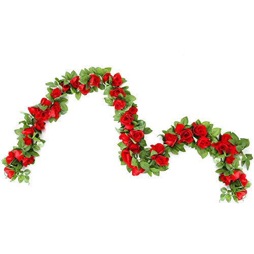 CINOON 2 Pack 6.5 FT Artificial Flowers Rose Vine Plants Hanging Rose Ivy Wedding Garland Greenery Home Hotel Office Party Garden Craft Art Decor (Big ()