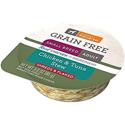 SIMPLY NOURISH 6 Grain Free Small Breed Adult Chicken & Tuna Stew (Shreds & Flaked) 6-Individual (3 oz) Cups