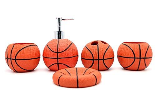 JynXos Resin 5 Pieces Bathroom Accessory Set -Basketball Design Ensemble Bathroom Vanities Home Decor - Valsan Tumbler Holder