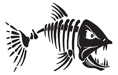 (Fastcard Fish Fishing Skeleton Bones Skull Auto Car Boat Bumper Window Wall Decal Sticker Vinyl (black, 10