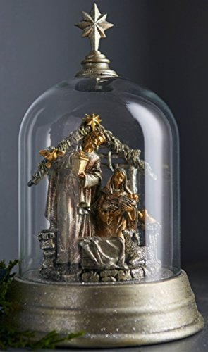 Christian Nativity Set in Enclosed Star-Topped Dome in Platinum and Silver 9.5''