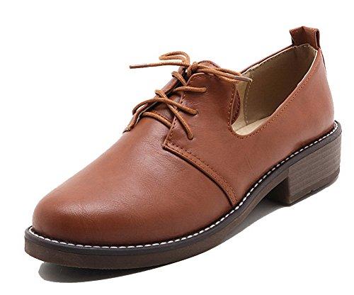 VogueZone009 Schuhe Schnürschuh Low runde Braun PU Heels Zehen Pumps Frauen rx8wCrqg
