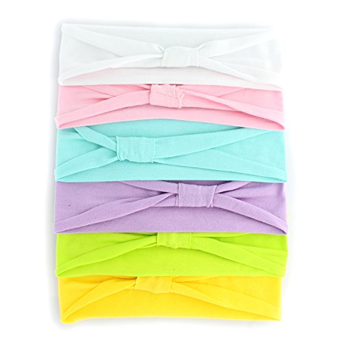 Jersey Cotton Knit Headbands - Child Size - Pastels - 6 Pack