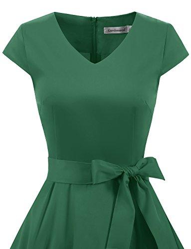 with Vintage Sleeves Women's Dress 1950s Retro Green Swing Rockabilly Gardenwed Dress Cocktail 5zBHO
