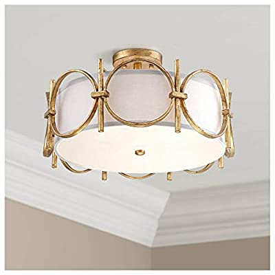 "Francis Modern Ceiling Light Semi Flush Mount Fixture Gold 18 1/4"" Wide White Fabric Drum Shade for Bedroom Kitchen Living Room Hallway Bathroom - Barnes and Ivy"