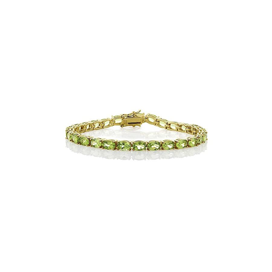 12.00 Ct 18k Yellow Gold Plated Sterling Silver Peridot Gemstone Birthstone Women's Tennis Bracelet, 7""