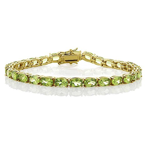 (Gem Stone King 12.00 Ct 18k Yellow Gold Plated Sterling Silver Peridot Gemstone Birthstone Women's Tennis Bracelet, 7inches)