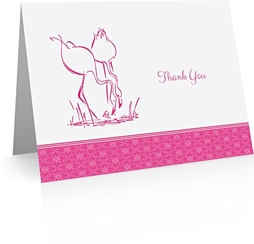 Flamingo Thank You Cards (24 Foldover Cards and Envelopes) by Little Notes by Comptime