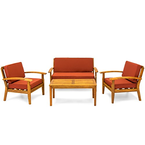 Best Choice Products 4-Piece Patio Acacia Wood Sofa Set w/Water Resistant Cushions - Red