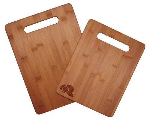 Natural Art Duo - Totally Bamboo 2 Piece Cutting Board Set with Permanently Etched Lemons, 100% Bamboo For Food Prep, Making Cocktails or Serving Appetizers