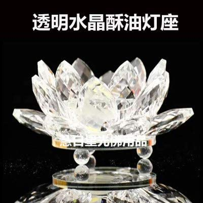 DSstyles 7 Colors Crystal Lotus Flower Candle Holder Buddhist Candlestick Decor Blue Birthday