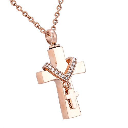 HooAMI Cremation Jewelry Diamond Double Cross Pendant Memorial Urn Necklace,Rose Gold Plated