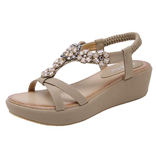 (Mysky Summer Women Popular Bohemian Lovely Crystal Flower Criss Cross Striped Belt Comfy Wedge Sandals Khaki)