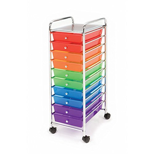 Seville Classics 10-Drawer Organizer Cart, Multi Color 3-Pack by Seville Classics