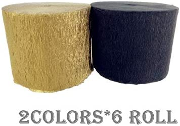 Graduation Birthday Fonder Mols 12 Rolls Crepe Paper Streamers Retirement for New Year Party Gold Black Baby Shower Nursery Party Decorations
