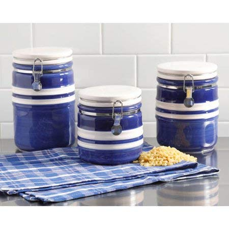 Gibson Home Just Dine Bistro Edge 3-Piece Canister Set, Blue