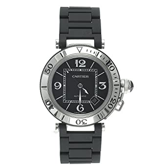 bdfa9ed2f360 Image Unavailable. Image not available for. Color  Cartier Men s W31077U2 Pasha  Seatimer Automatic Stainless Steel and Rubber Watch