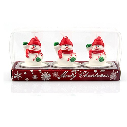 Santa Claus Cone - Demarkt 3PCS Christmas Wooden Candlestick Creative Santa Claus/Pine Cone/Christmas House Candle Box Candle Size 6×4cm (Snowman)