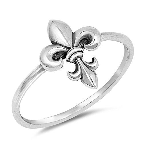 Fleur-de-lis Oxidized Flower Midi Ring New .925 Sterling Silver Band Size -