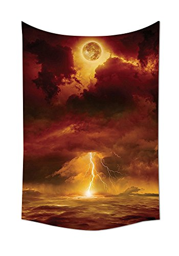 Lake House Decor Tapestry Wall Hanging Apocalyptic Background with Storm Beams and Full Moon End of World Like Hell Theme Bedroom Living Room Dorm Decor Orange Yellow