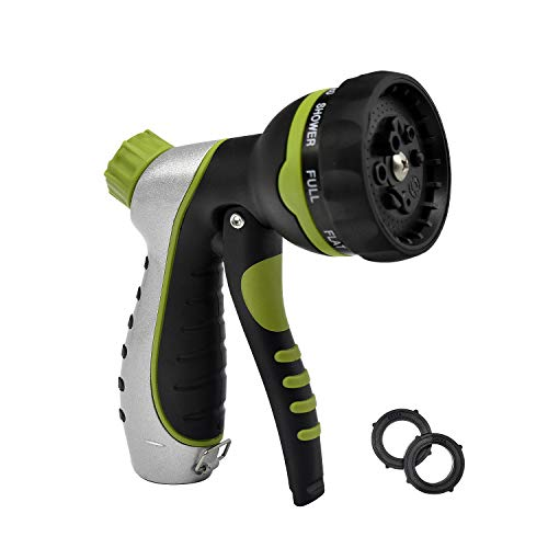 Mozing Garden Hose Nozzle Hand Sprayer Heavy Duty Watering Nozzle – High Pressure 8 Adjustable Watering Patterns Suitable for Car Wash, Cleaning, Watering Lawn and Garden