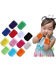 MoonyLI 12 stuks sportarmbanden polsen zweetbanden kinderen kleurrijke sportarmbanden katoen SWE elastische badstof armbanden (vrouwen mannen kind) 6 kleuren