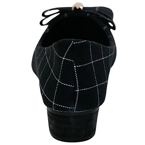 en De Mini Punta Sintético salón Metal cordones Mujer Tacón Negro Sin AalarDom Puntera xIwUgzOBqz