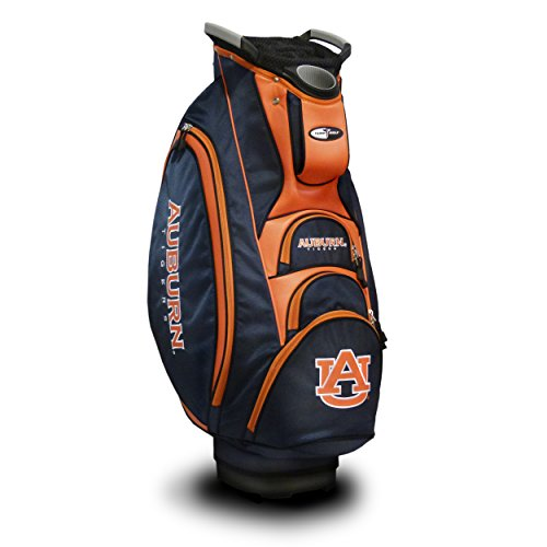 Team Golf NCAA Auburn University Tigers Victory Golf Cart Bag, 10-way Top with Integrated Dual Handle & External Putter Well, Cooler Pocket, Padded Strap, Umbrella Holder & Removable Rain Hood
