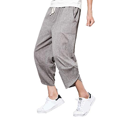 Men's Capri Pants | Men Casual Baggy Cotton Linen Straight Wed Leg Drawstring Trousers | Loose Pocket Lounge Harem Yoga Sweatpants
