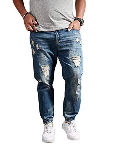 ADELINA Pantalones Vaqueros del Agujero De Y Los Confort Hombres Ocio Ropa Jeans Sueltos Pantalones del Zapato De Agua Caliente Jeans Pantalones Casuales Pantalones De Mezclilla Blau