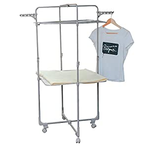 Drynatural 2-Tier Height Adjustable Clothes Drying Rack with Wheels Rolling Laundry Dryer, 66ft. Drying Space