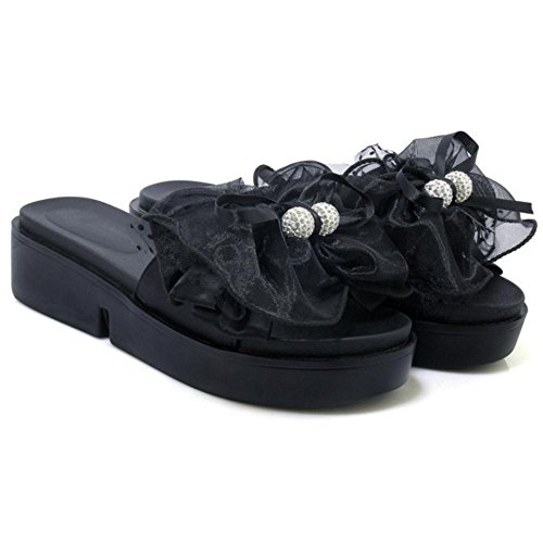 Platform Shoes Black Mules Slippers Summer Women's TAOFFEN qBwzZZ