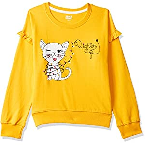 Amazon Brand – Jam & Honey Girl's Cotton Lightweight Sweatshirt
