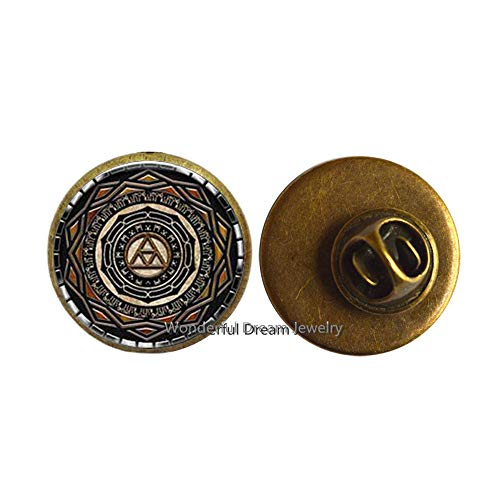 - New Mirror of Twilight Brooch Mirror of Twilight Jewelry Glass Dome Pin Brooch,PU210 (Brass)