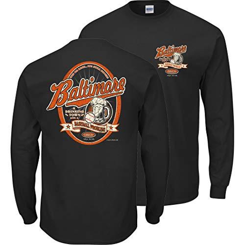 Baltimore Baseball Fans. Baltimore Drinking Town Black Shirt or Tank (Sm-5X) (Long Sleeve, Large)