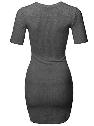 Awesome21 Sleeves Body Stretch Dress Con Ribbed Short Women's Charcoal Grey Solid Aawdrs0014 rWwCtqfr