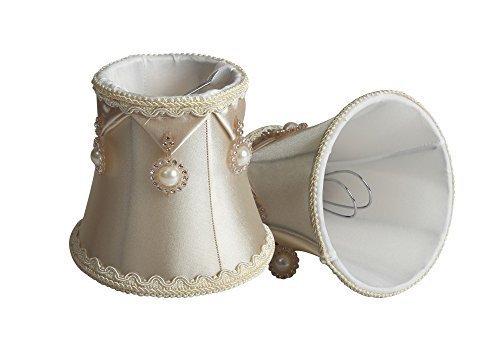 Splink 2pcs Style Européen Clip-on Abat-jour A Pince en Tissu Fait A La Main pour Bougie Lustre Lampe de Table Applique Mural 80*120*110mm