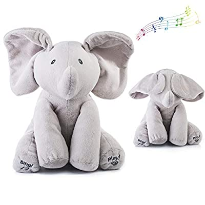 Qifen Plush Toy peek-a-Boo Elephant, Hide and Seek Game Baby Animated Flappy Ear Elephant Plush Toy Singing Talking Cute Stuffed Animals for Babies Boys & Girls