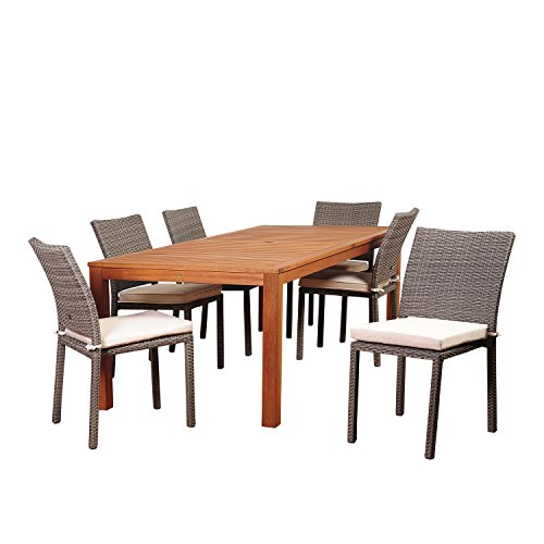 Amazonia Lilac 7 Piece Eucalyptus/Wicker Rectangular Dining Set with Off-White Cushions
