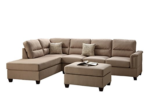Poundex F7614 Bobkona Toffy Linen-Like Left or Right Hand Chaise Sectional with Ottoman Set, Sand
