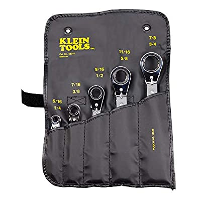 Klein Tools 68245 Reversible Ratcheting Box Wrench Set, 5-Piece, Black - Klein Tools Offset Box Wrench - .com