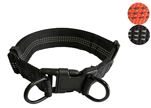 YSNJLQ Dog Collar Nylon Pet Collar Adjustable 3M Reflective Collar with Double Ring for Medium Large Dogs (Black)