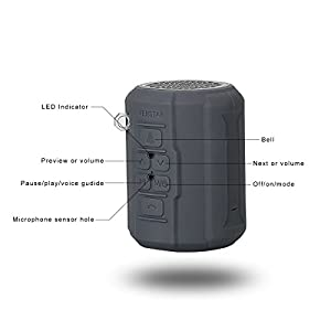 Wireless Speaker, Venstar Waterproof Sport Portable Bluetooth Speaker, 6w Strong Speaker Driver Passive Radiator with Remote Controller and Metal Hook Loop for Outdoor Sports Travel Bicycle Cycling