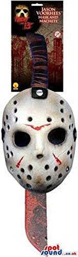 Scary Jason Horror Movie Character Mask And Machete.