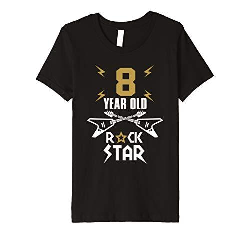 Kids Guitar Music T-Shirt - 8 Year Old Rockstar Birthday Tee