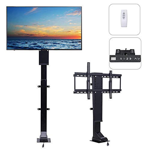 Pinty Motorized TV Lift Mount for 32-70 inch Large Flat Screen Cabinet, Height Adjustable 32-72 inch, RF Remote and Manual Control, Memorized Heights, Fast Lift Speed 1 inch per Second, Weight Capacity 154 lb.
